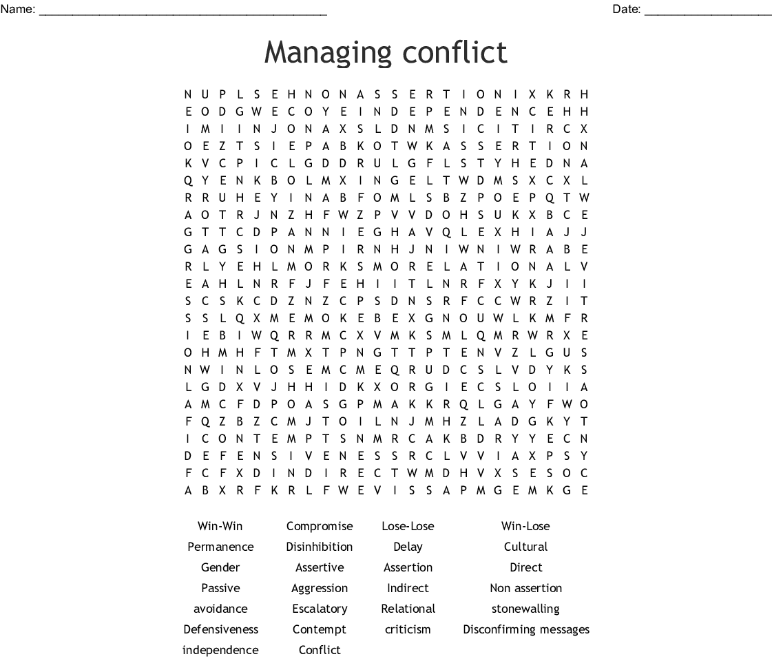 Managing Conflict Word Search