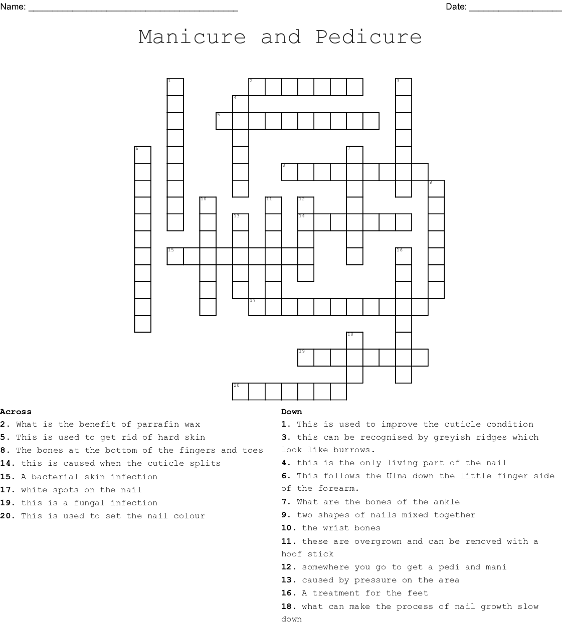 Manicure And Pedicure Crossword Puzzle