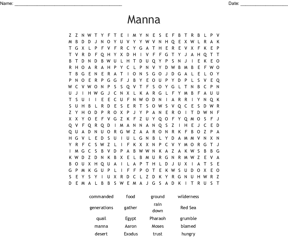 Manna And Quail Word Search