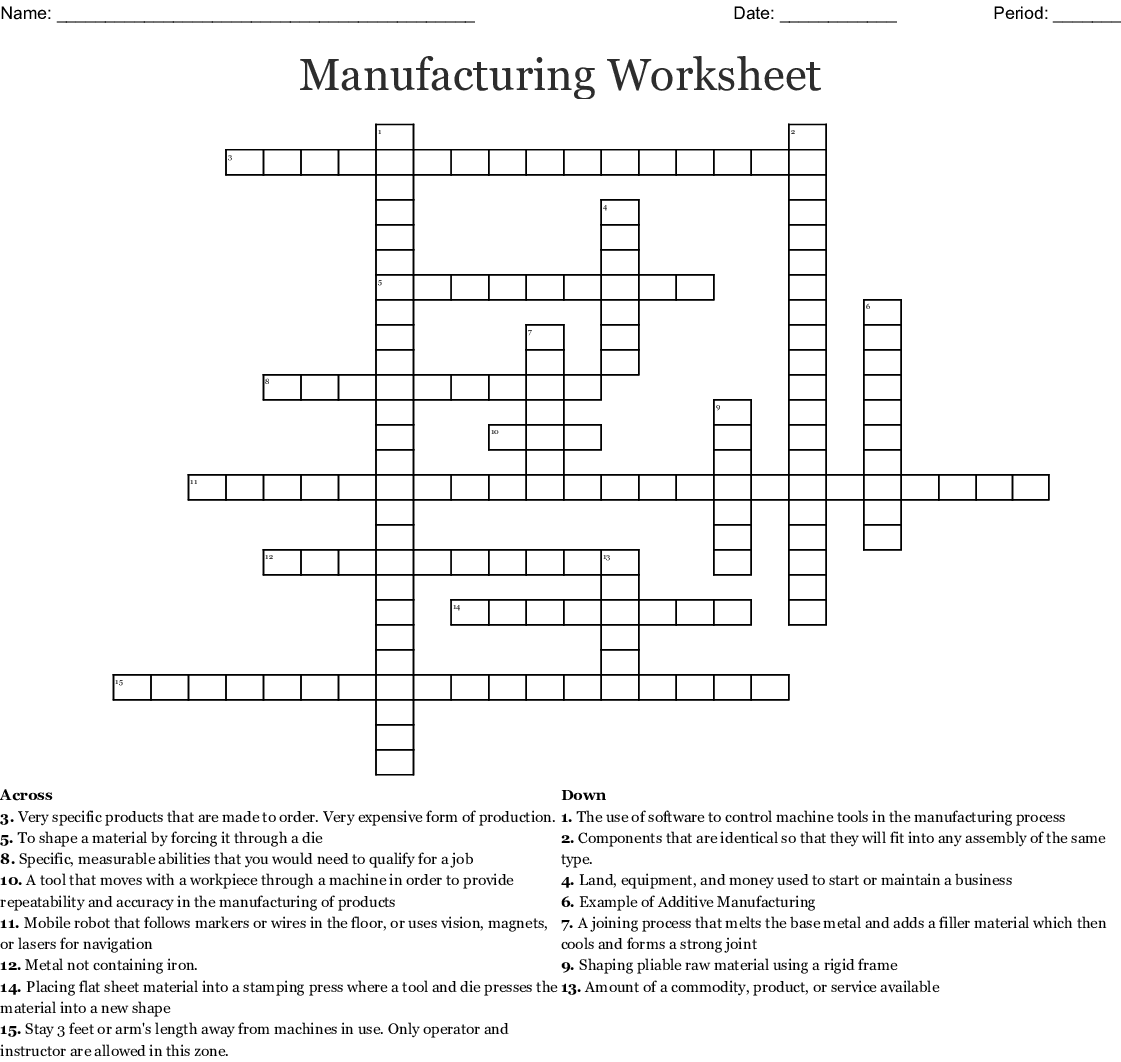 Manufacturing Worksheet Crossword