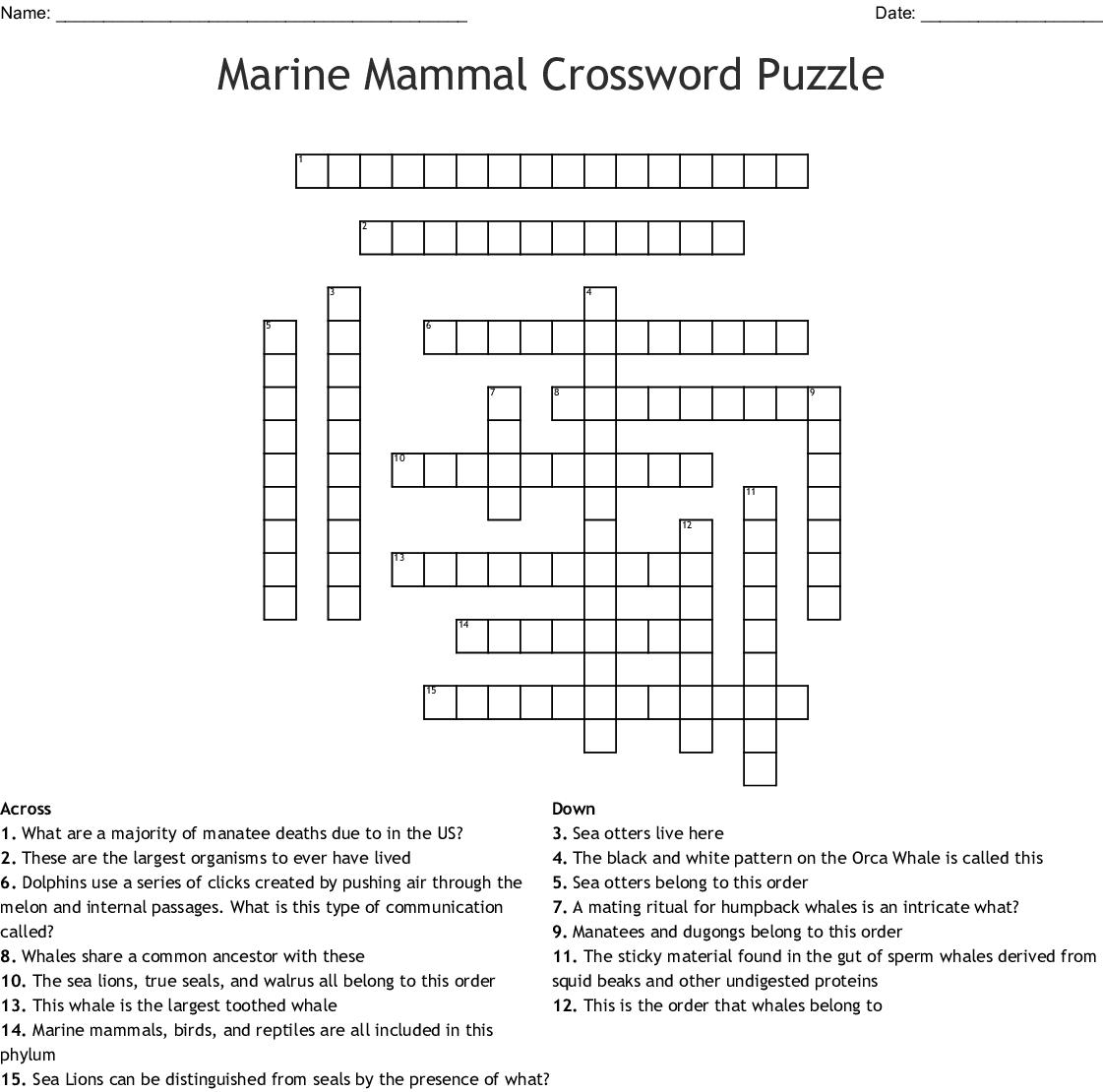 Aquatic Mammals Crossword