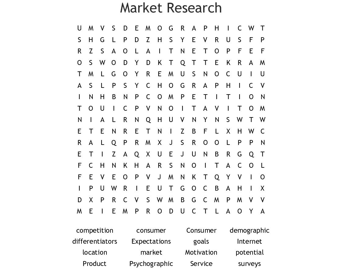Market Research Word Search