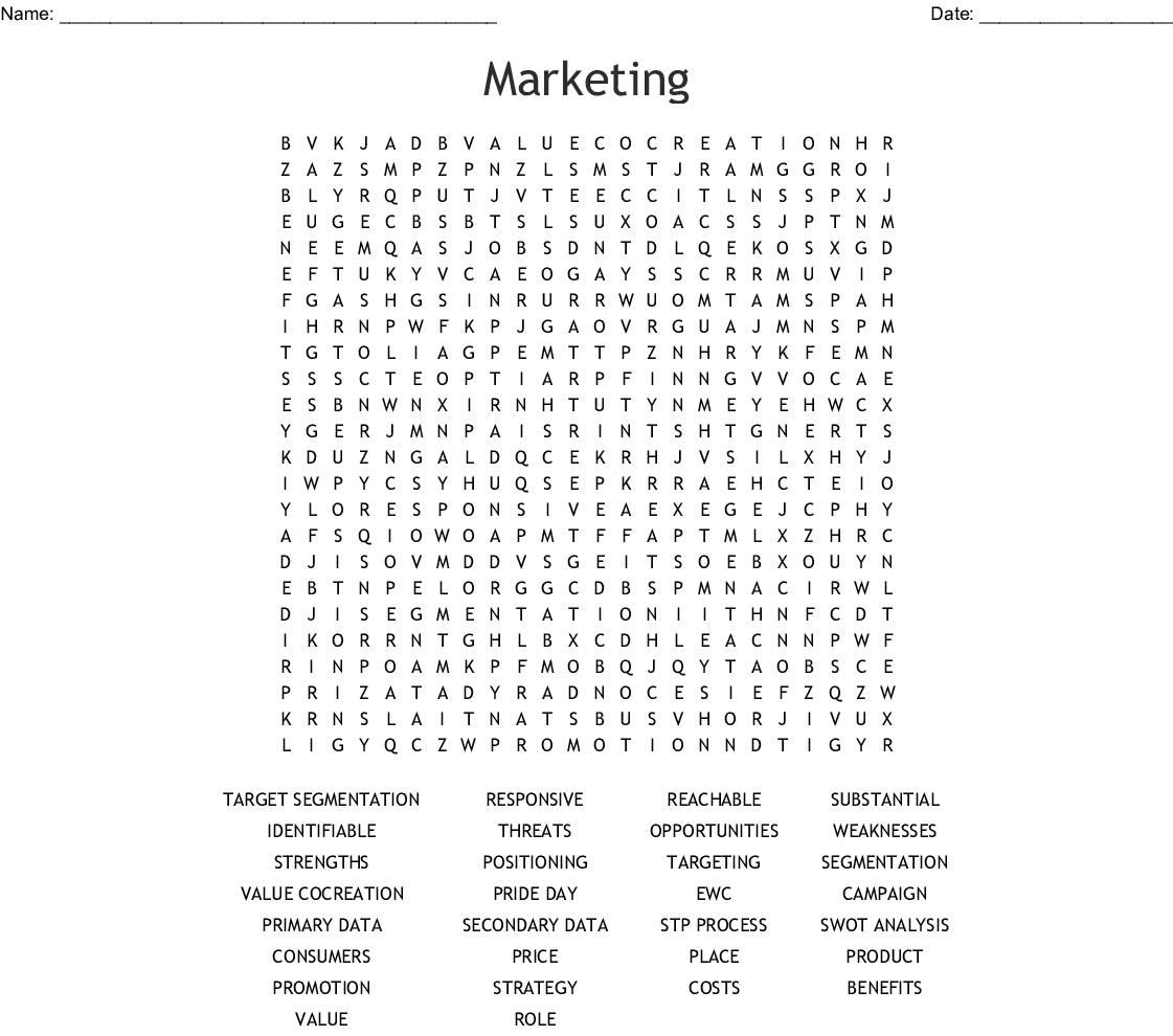 Sports And Entertainment Marketing Word Search