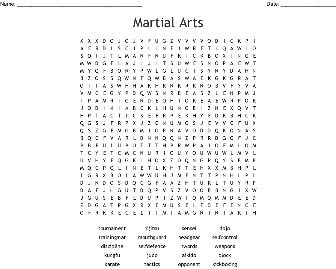 Karate Word Search