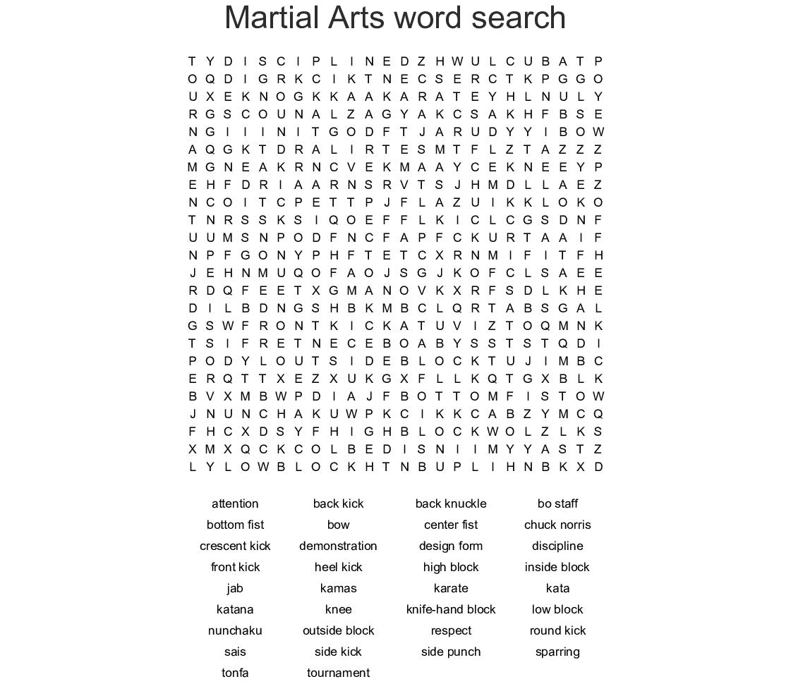 Martial Arts Word Search