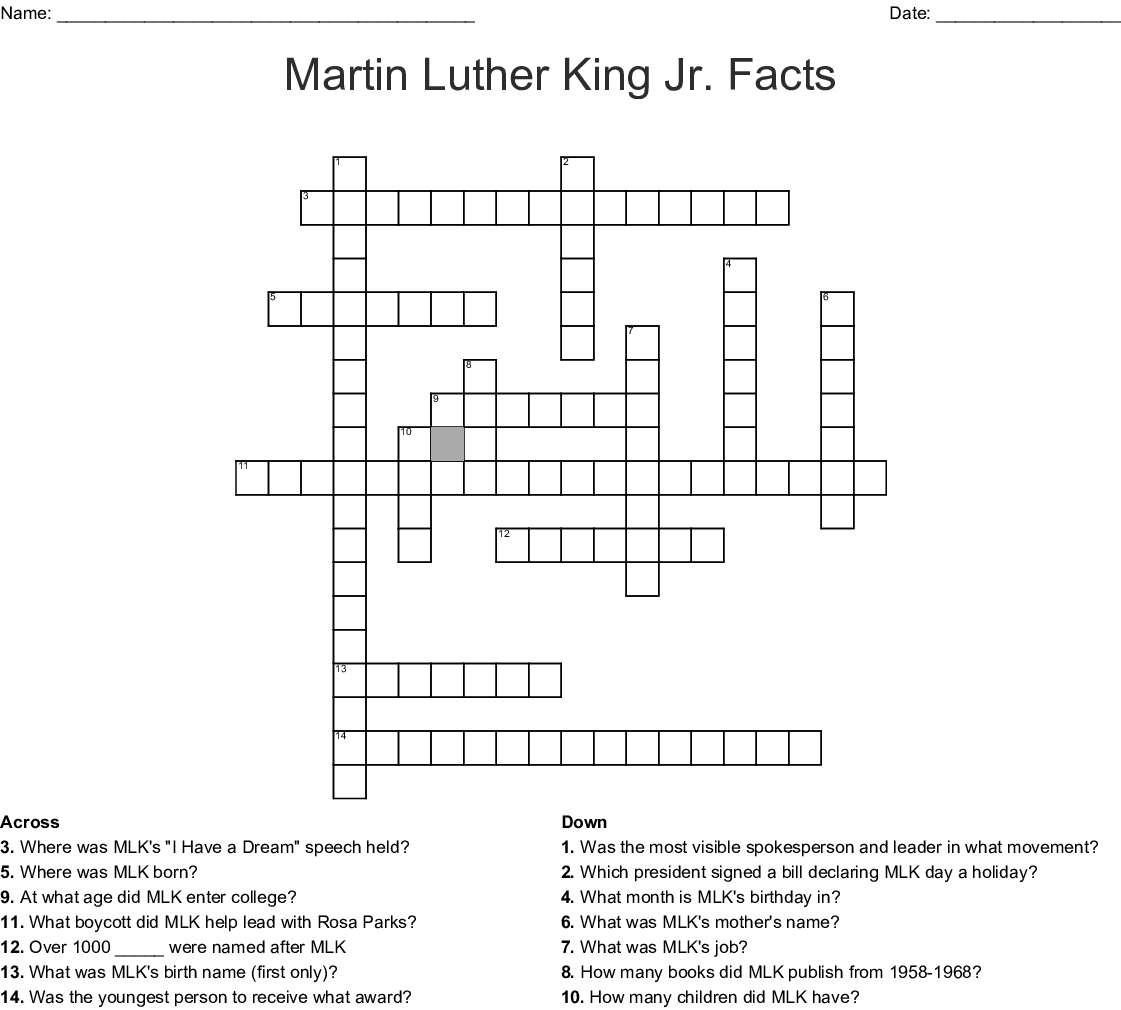 Martin Luther King Jr Facts Crossword