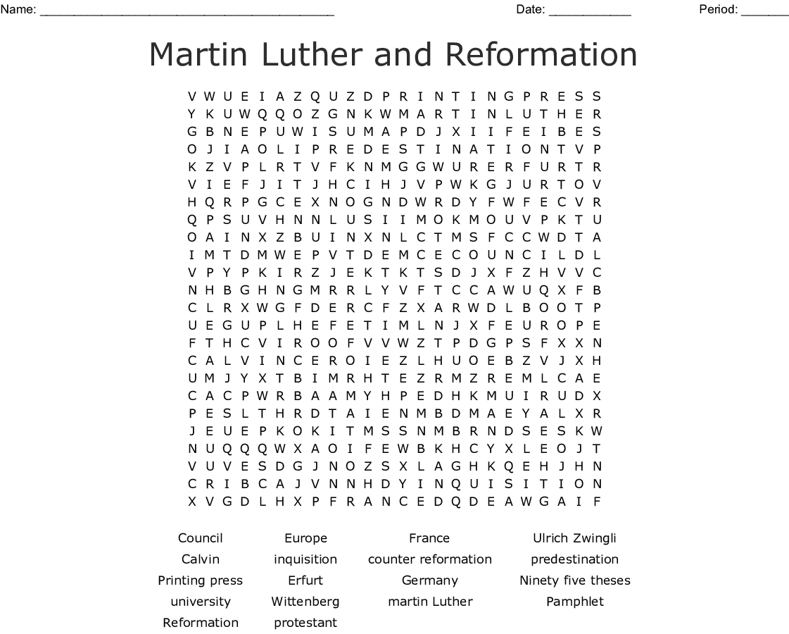 The Protestant Reformation Crossword