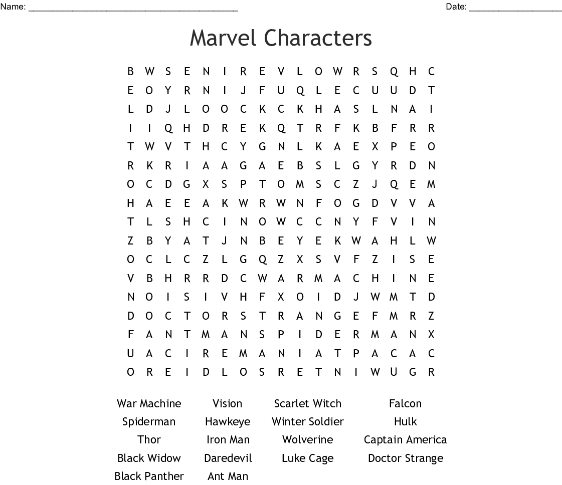 Marvel And Dc Characters Word Search