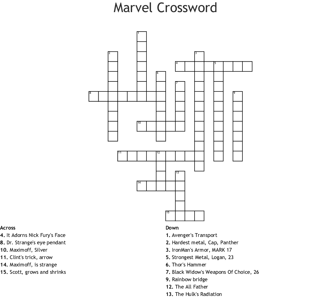 Marvel Crossword