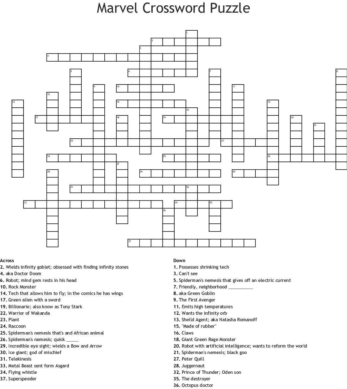 Printable Movie Crossword Puzzles That Are Bewitching
