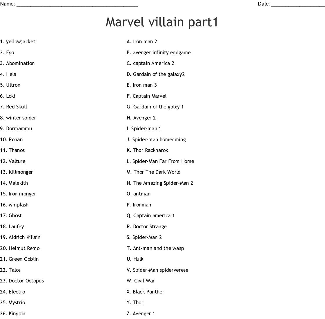 Marvel Villain Part1 Worksheet