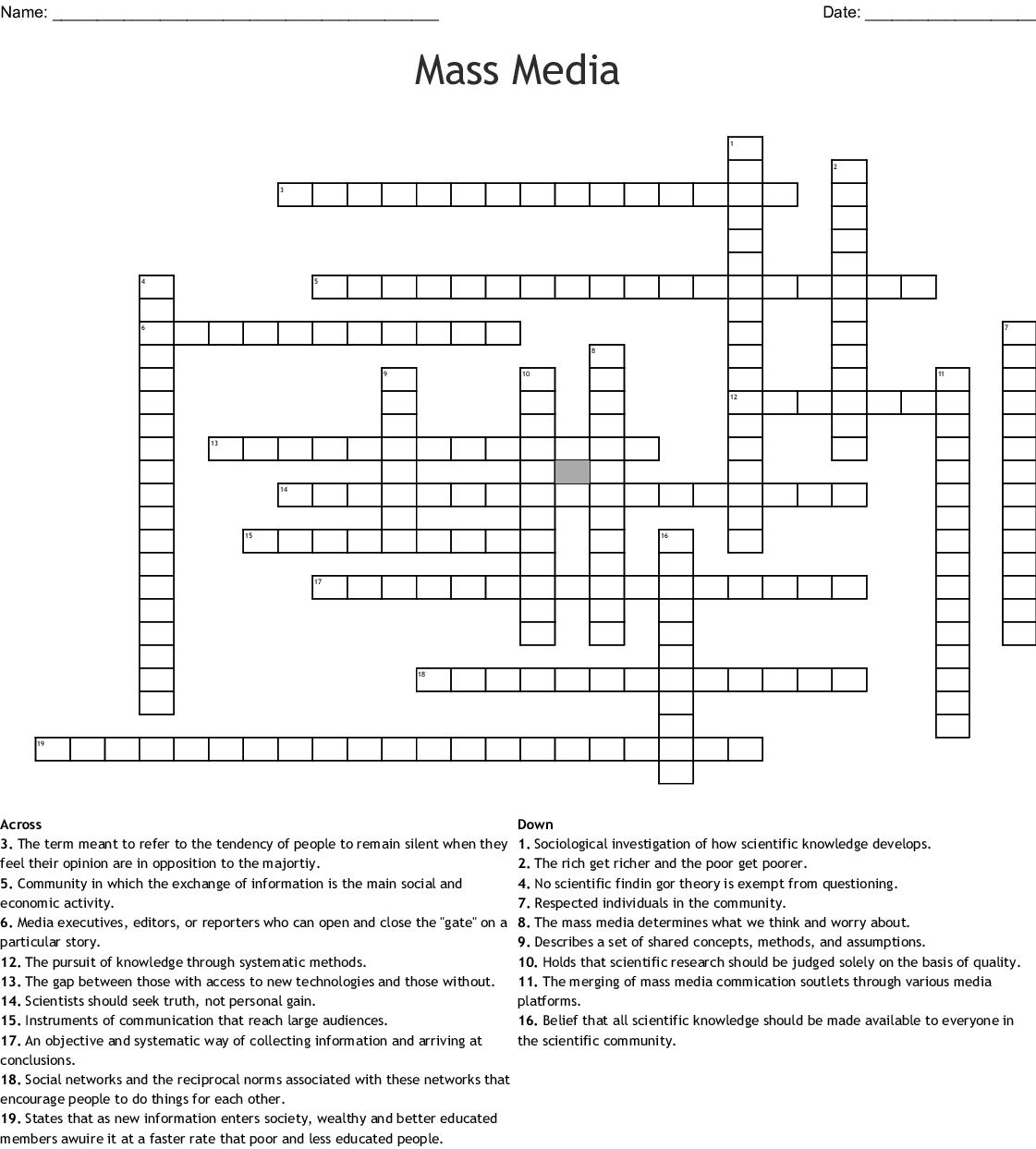 Chapter 7 Terms Part 1 Crossword