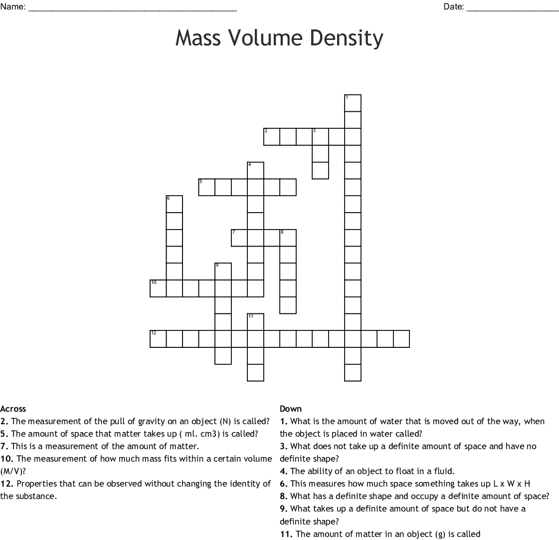 Mass Volume Density Worksheet Answers