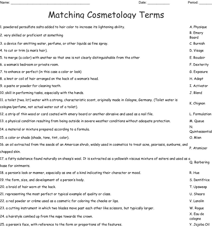 Matching Cosmetology Terms Worksheet
