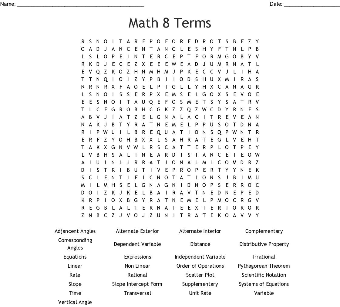 8th Grade Math Word Search