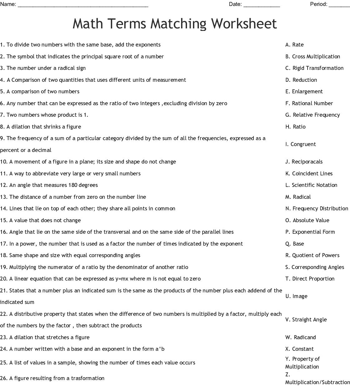 Math Terms Matching Worksheet