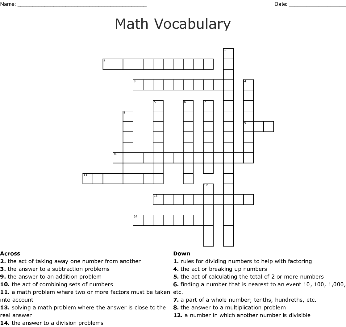 Math Vocabulary Crossword