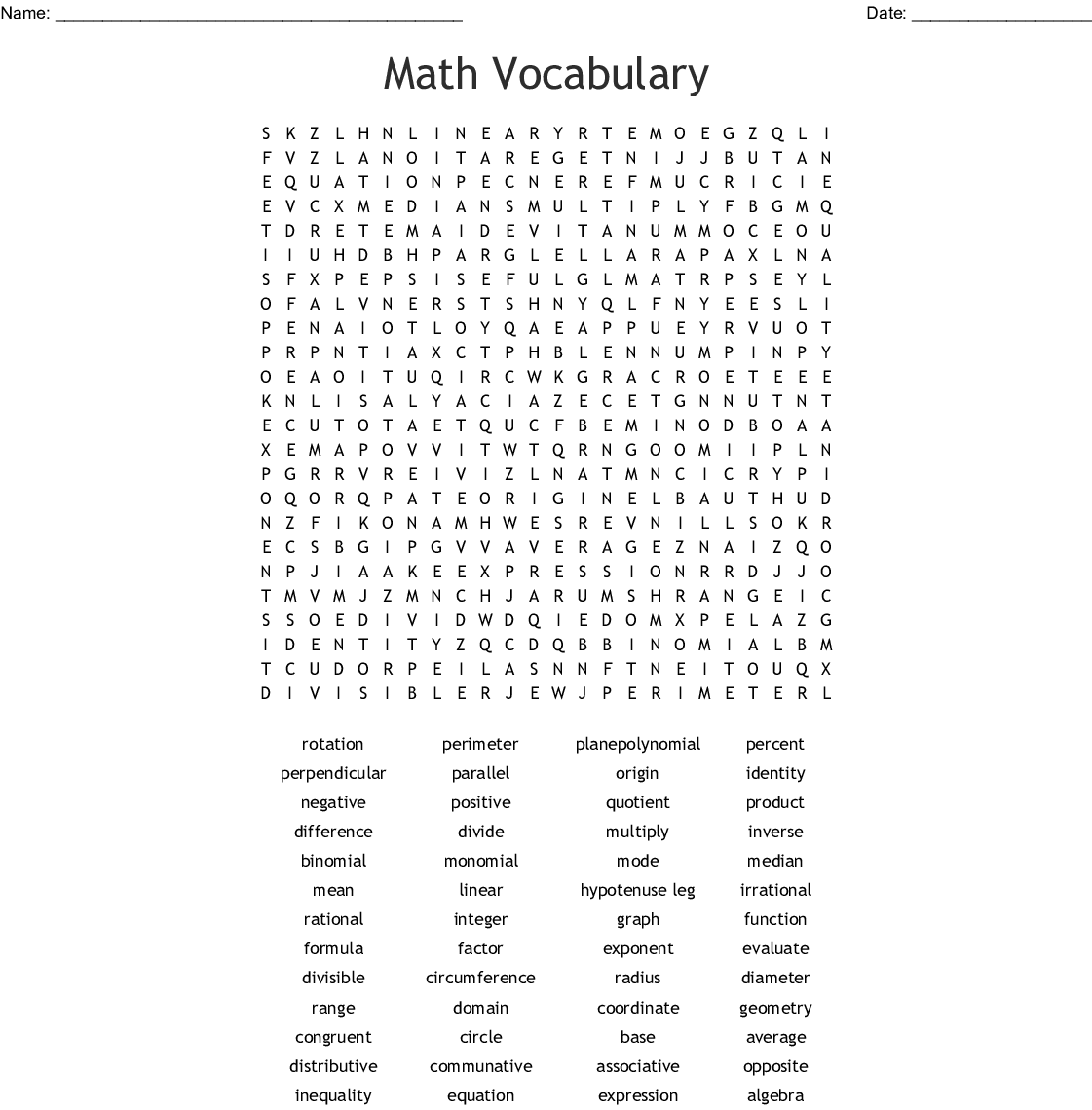 7th Grade Math Vocabulary Words Word Search
