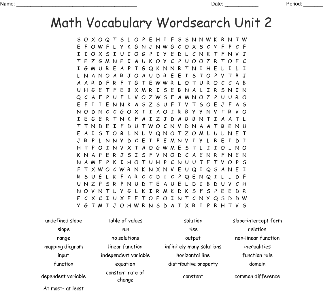 Linear Functions Vocabulary Word Search