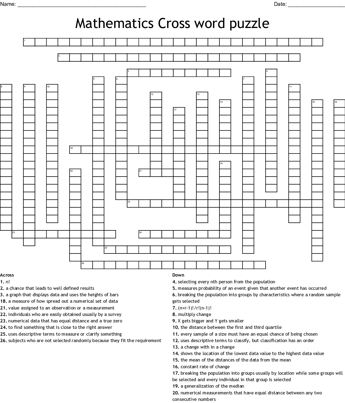Mathematics Cross Word Puzzle
