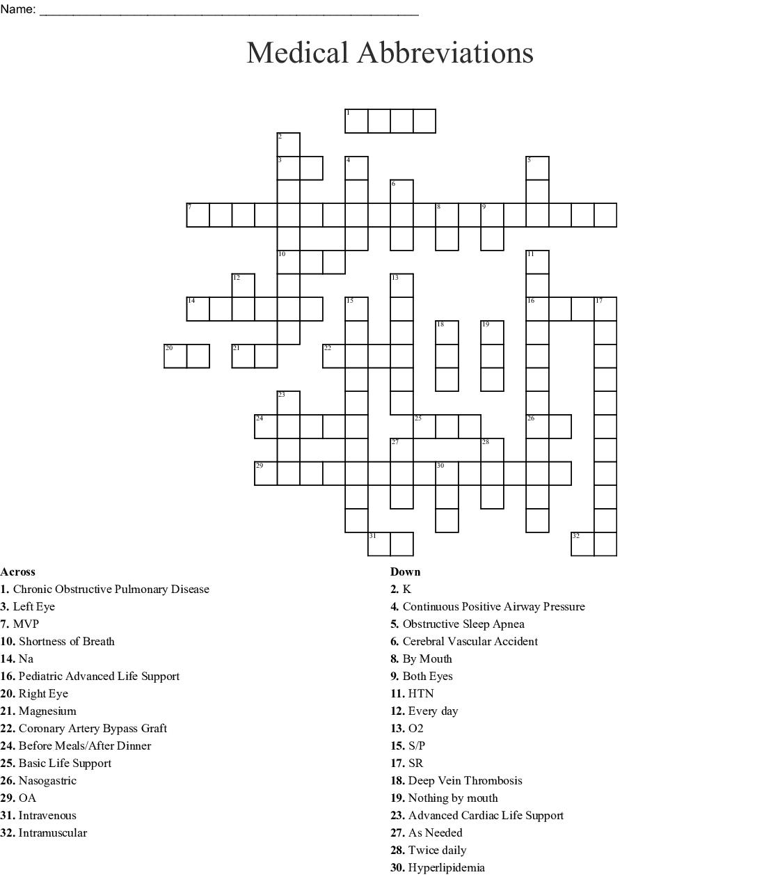 Using Medical Abbreviations Worksheet Answers