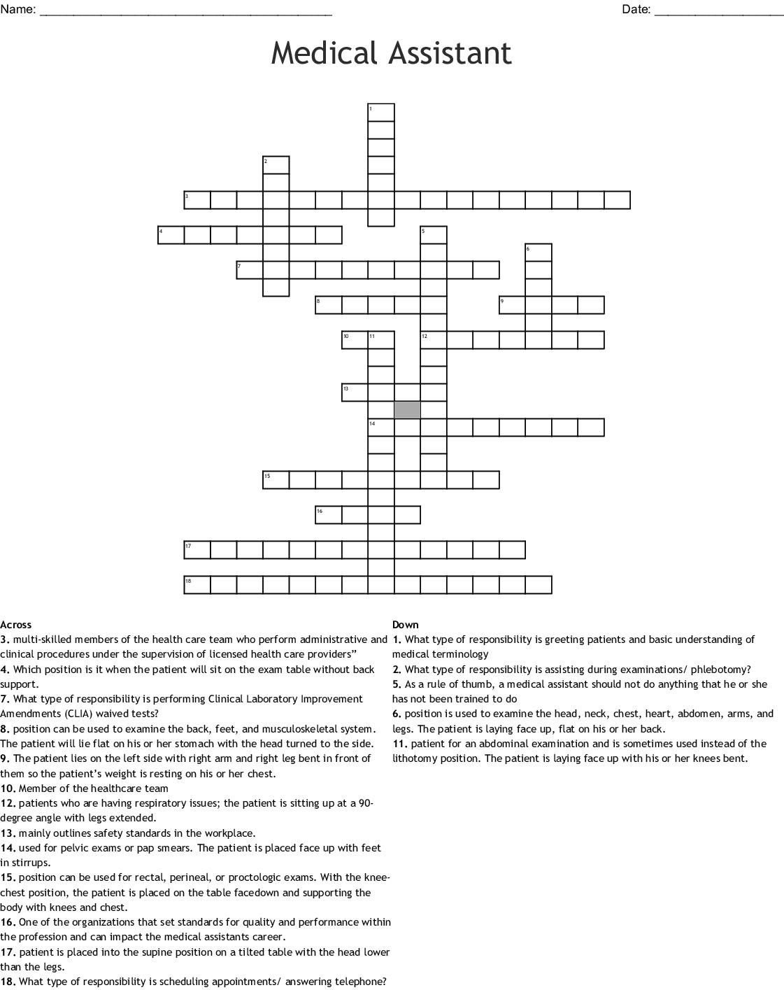 Health Education Amp Medical Training Crosswords Word
