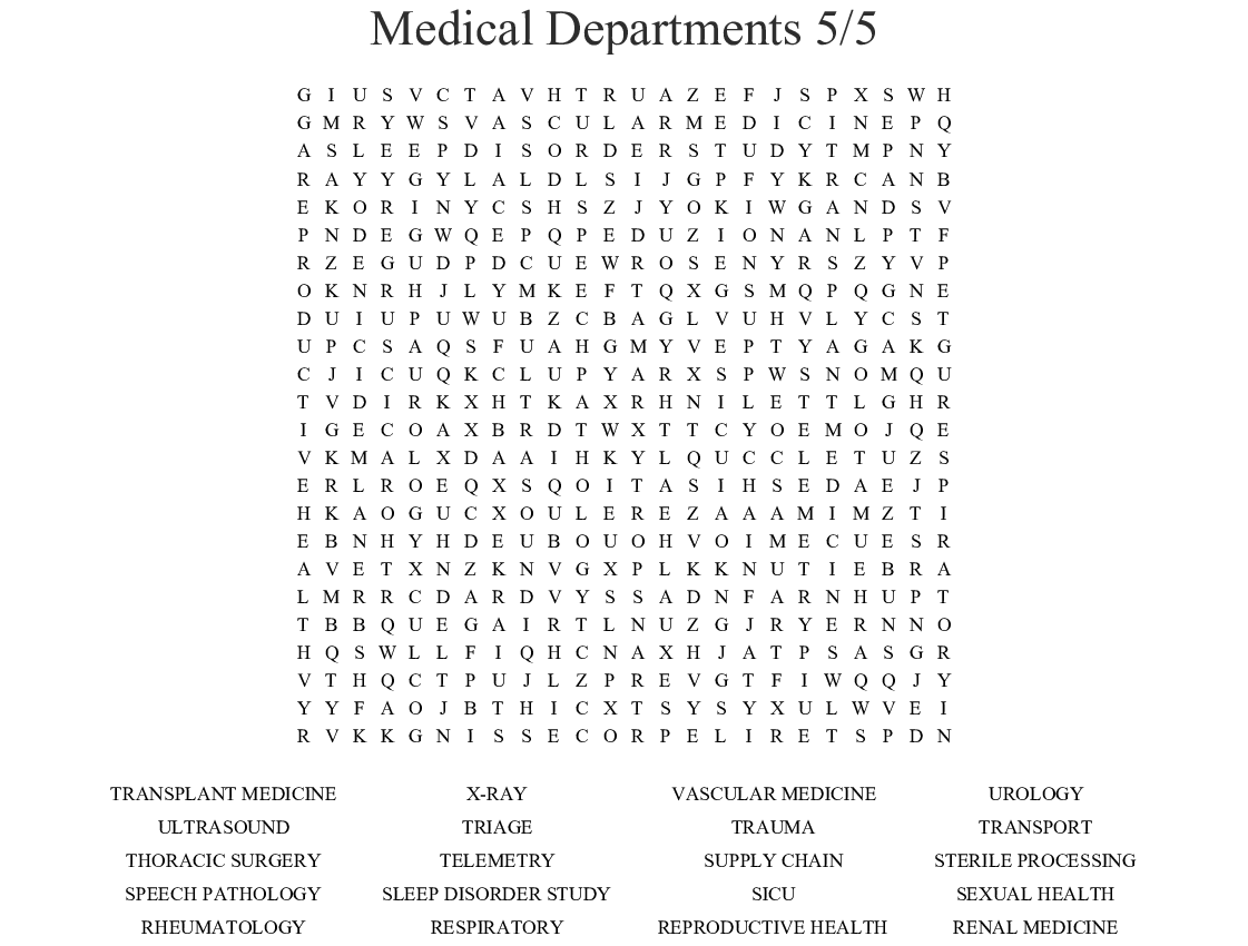Medical Departments 5 5 Word Search