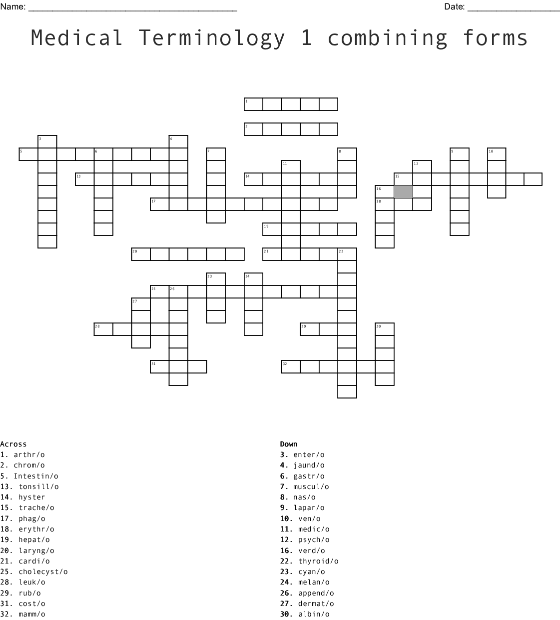 Medical Terminology Units 1 3 Word Search