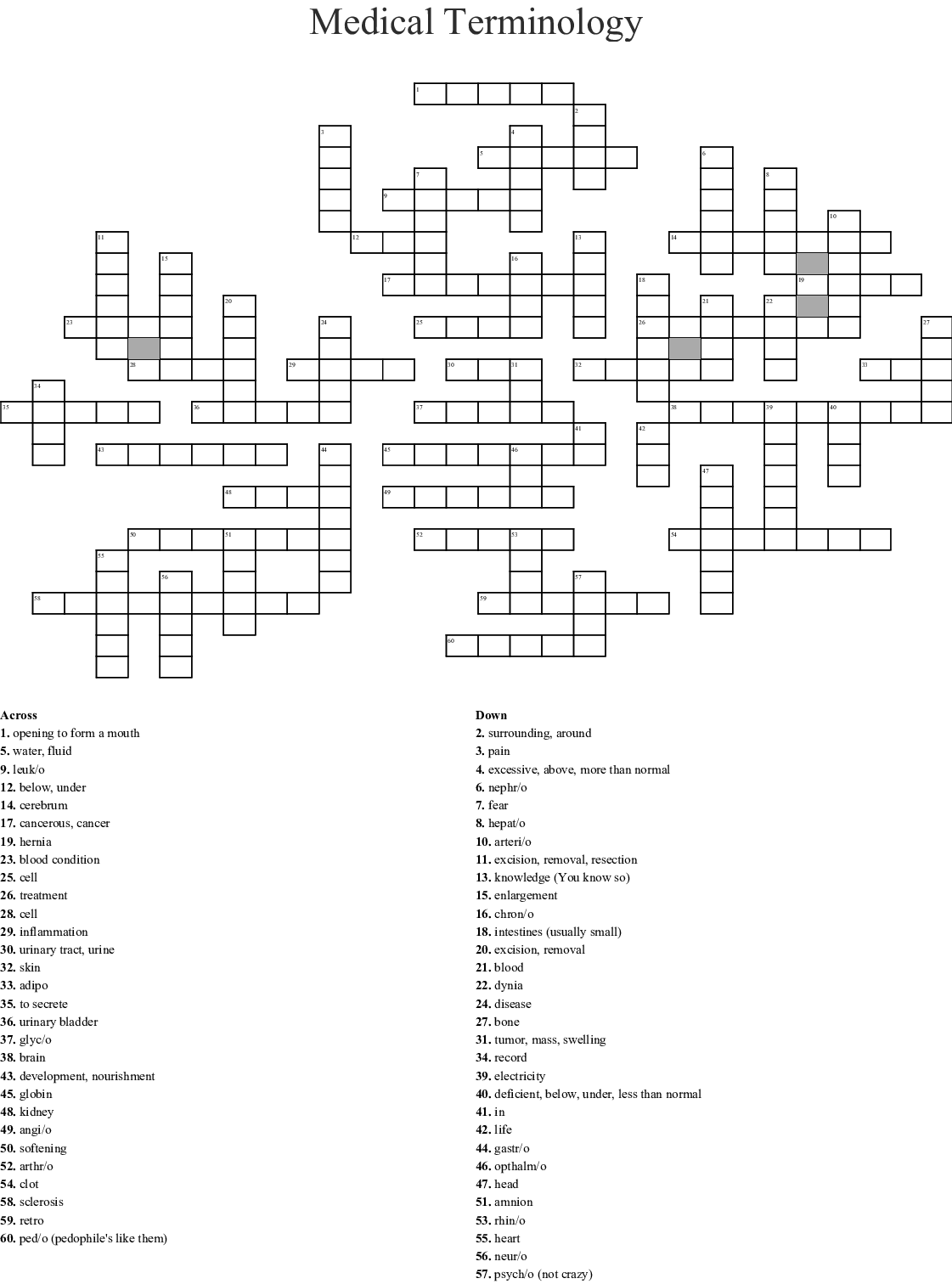 Medical Terminology 3 Amp 4 Crossword