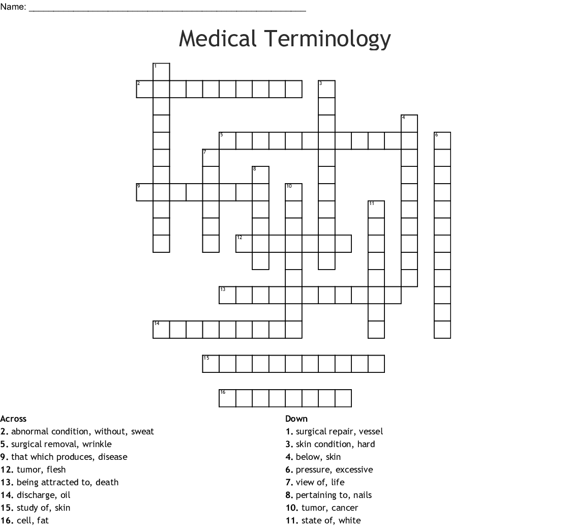 Medical Terminology Word Search