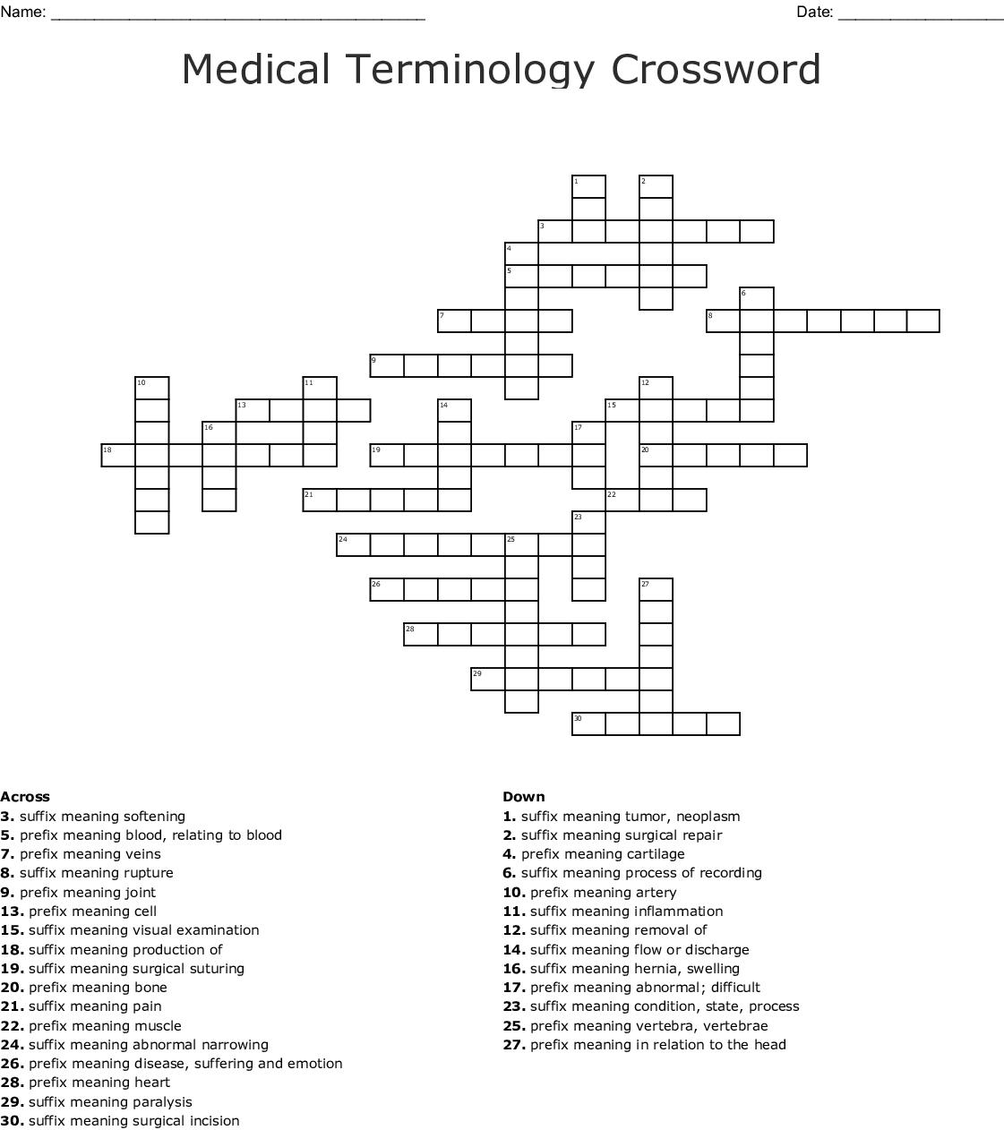 Medical Terminology Chapter 1 Crossword