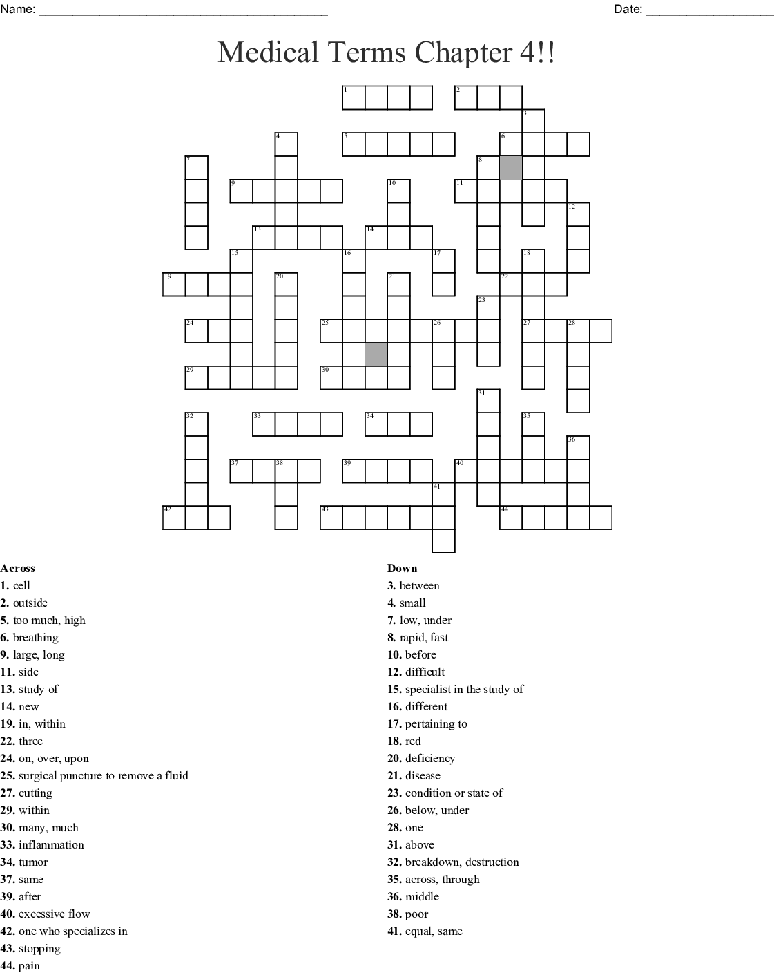 Prefix And Suffix Crossword Puzzle