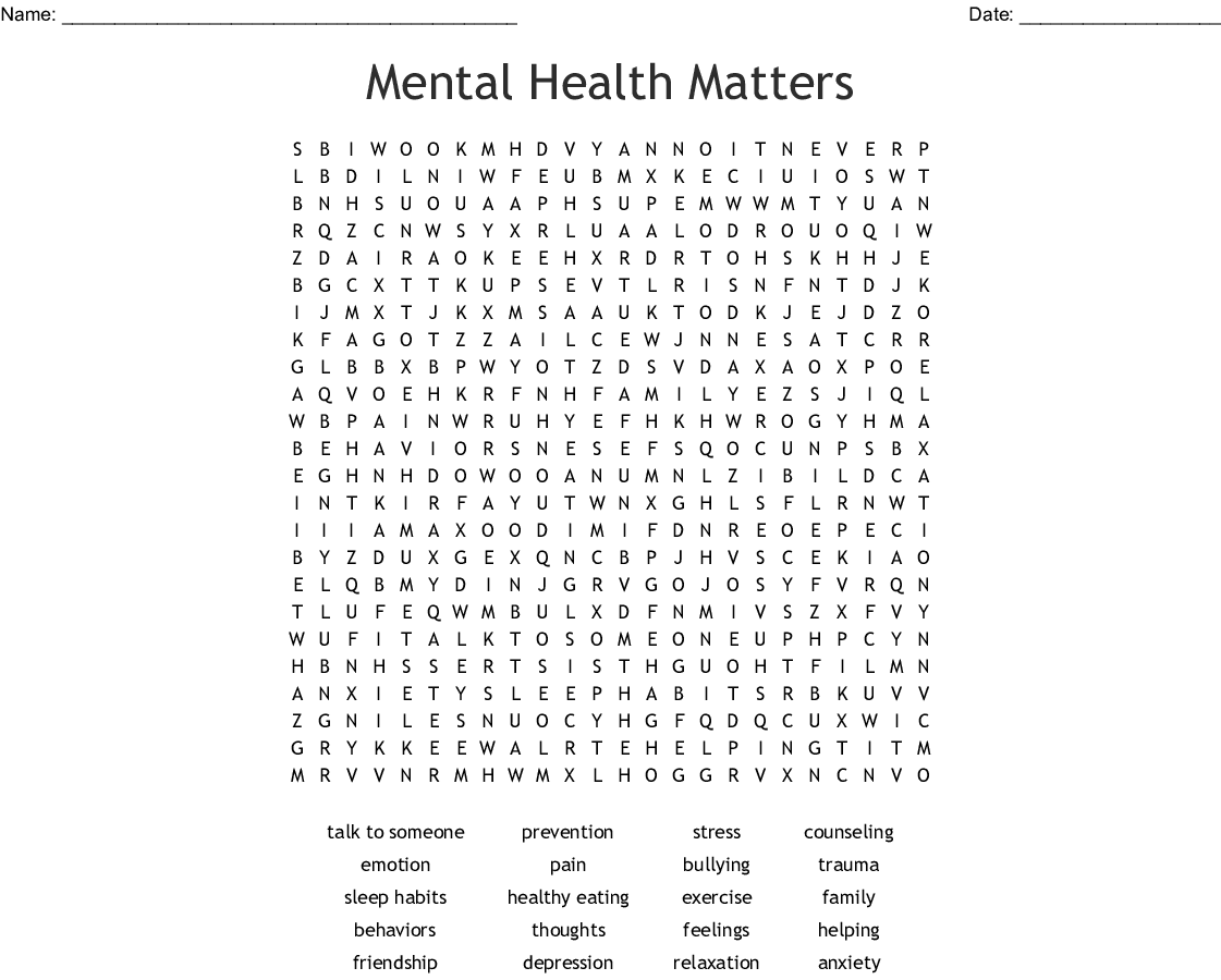 Stress Management Word Search