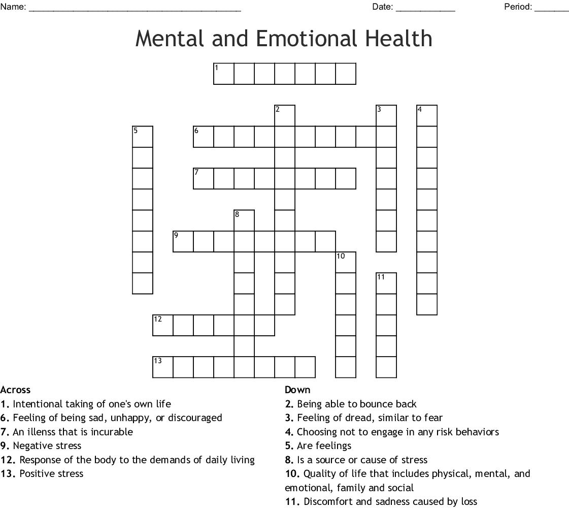 Mental Picture Crossword Clue