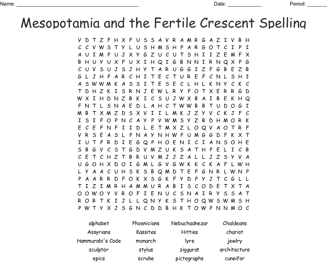 Mesopotamia And The Fertile Crescent Spelling Word Search