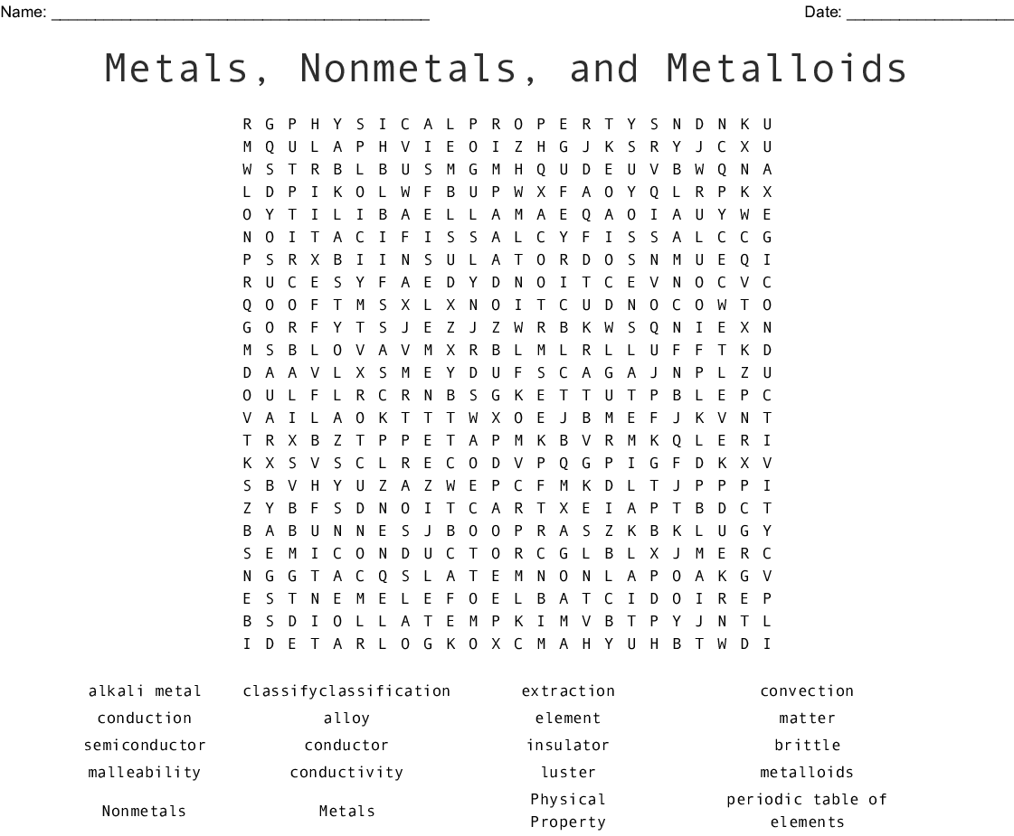 Metals Nonmetals And Metalloids Word Search