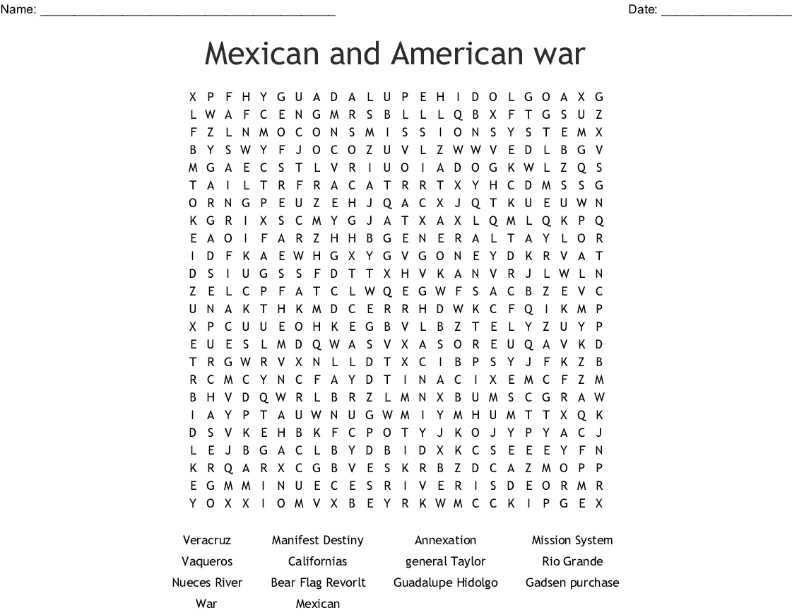Mexican American War Word Search