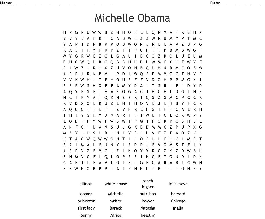 Michelle Obama Word Search