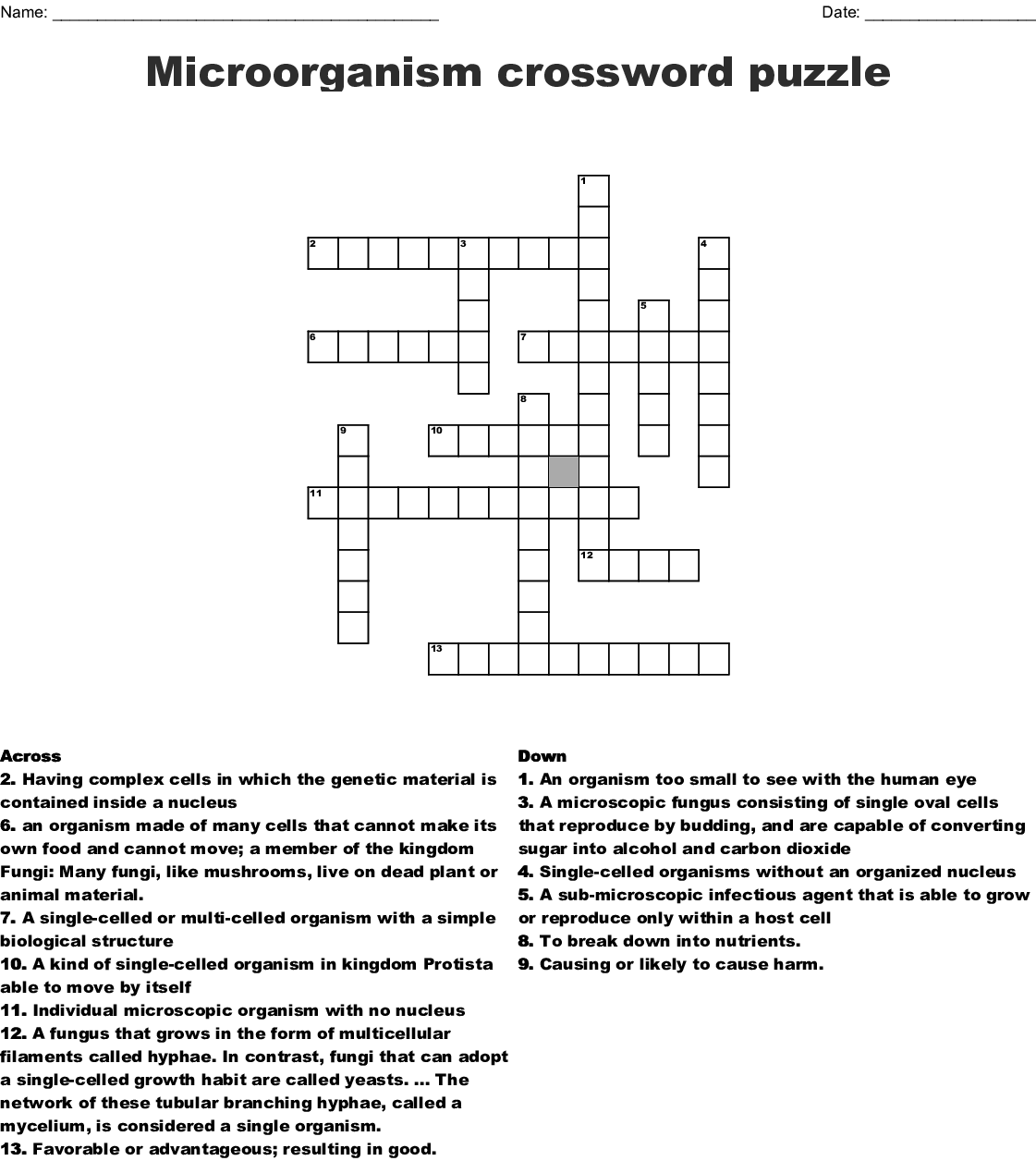 Fungi Crossword
