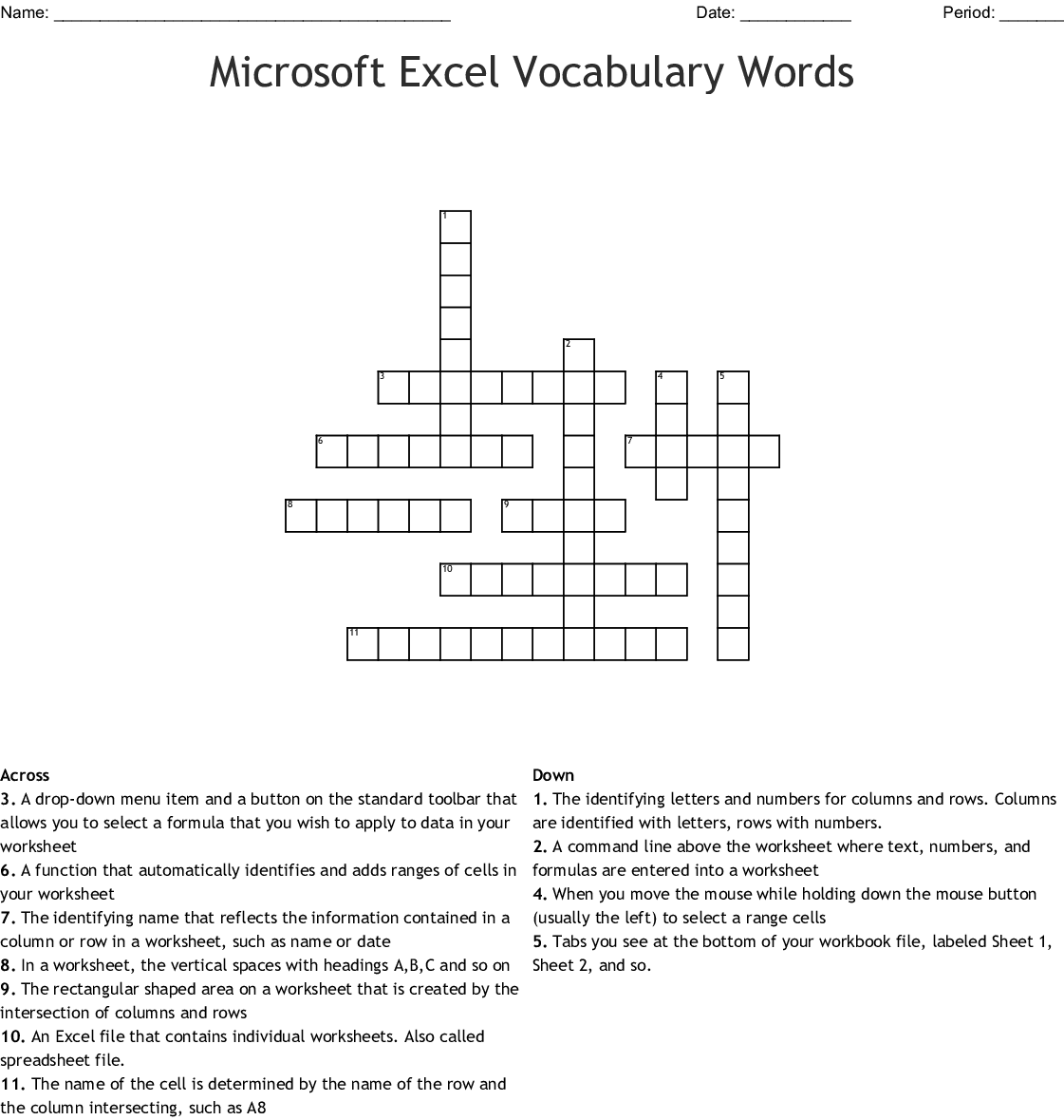 Microsoft Excel Crossword