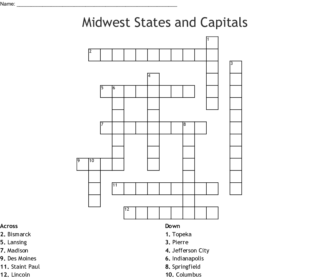 Midwest States And Capitals Crossword