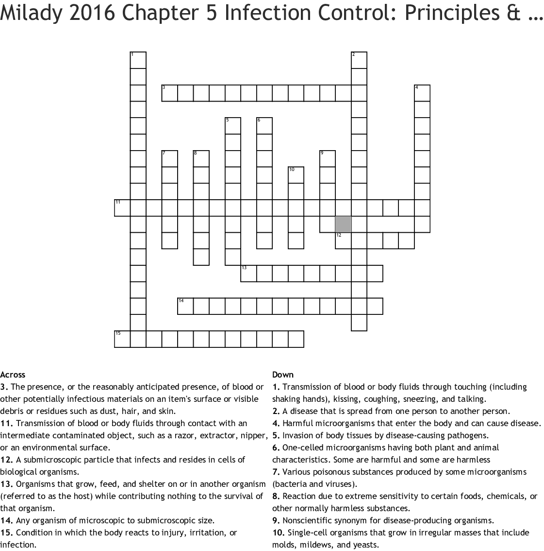 Milady Chapter 5 Infection Control Principles