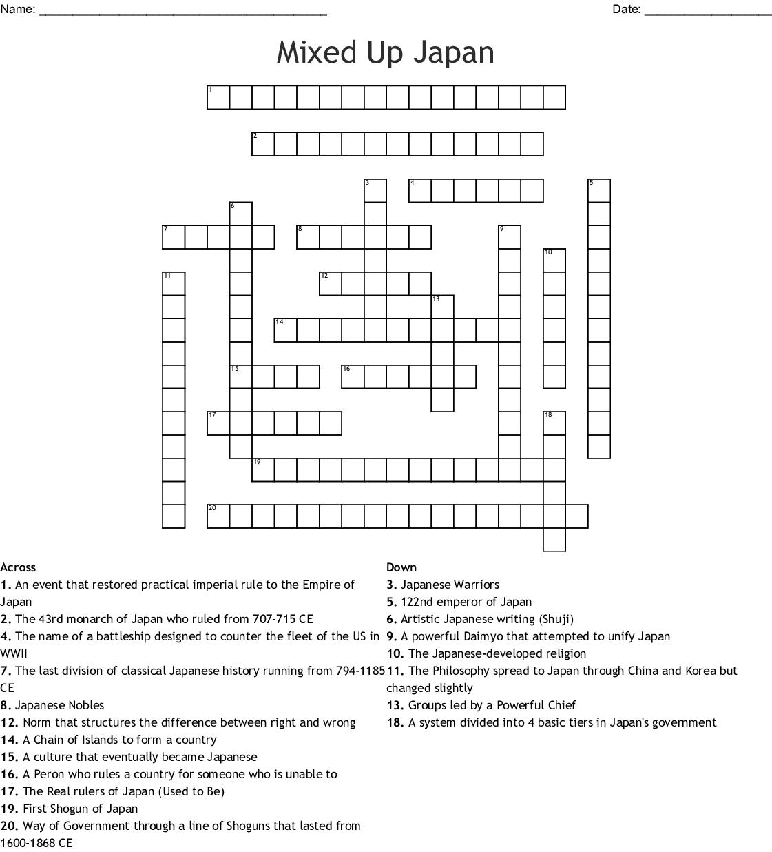 Mixed Up Japan Crossword