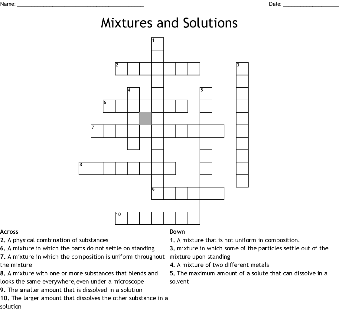 Mixtures And Solutions Crossword