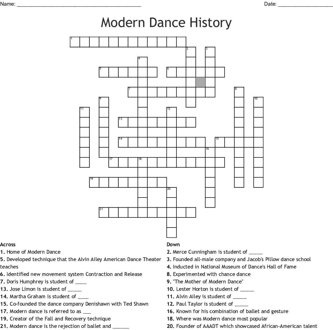 Modern Dance Terms Word Search
