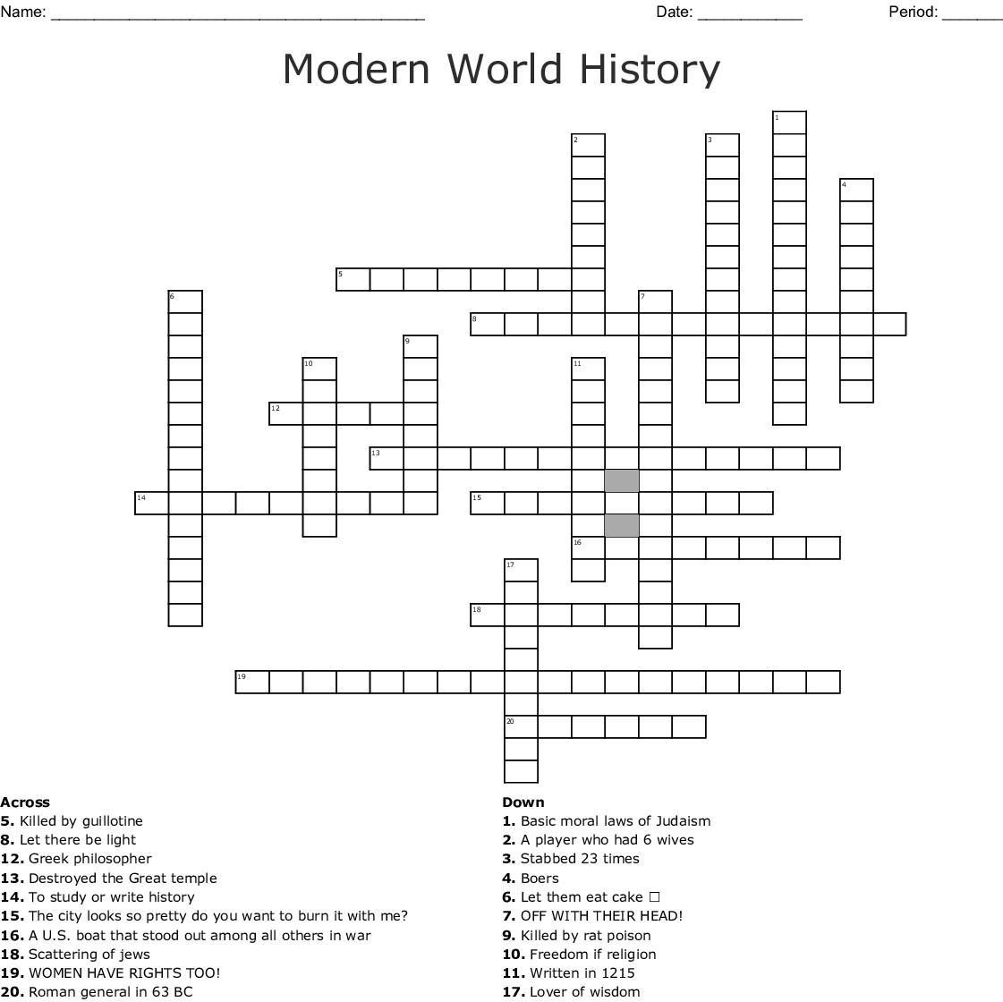 Modern World History Crossword