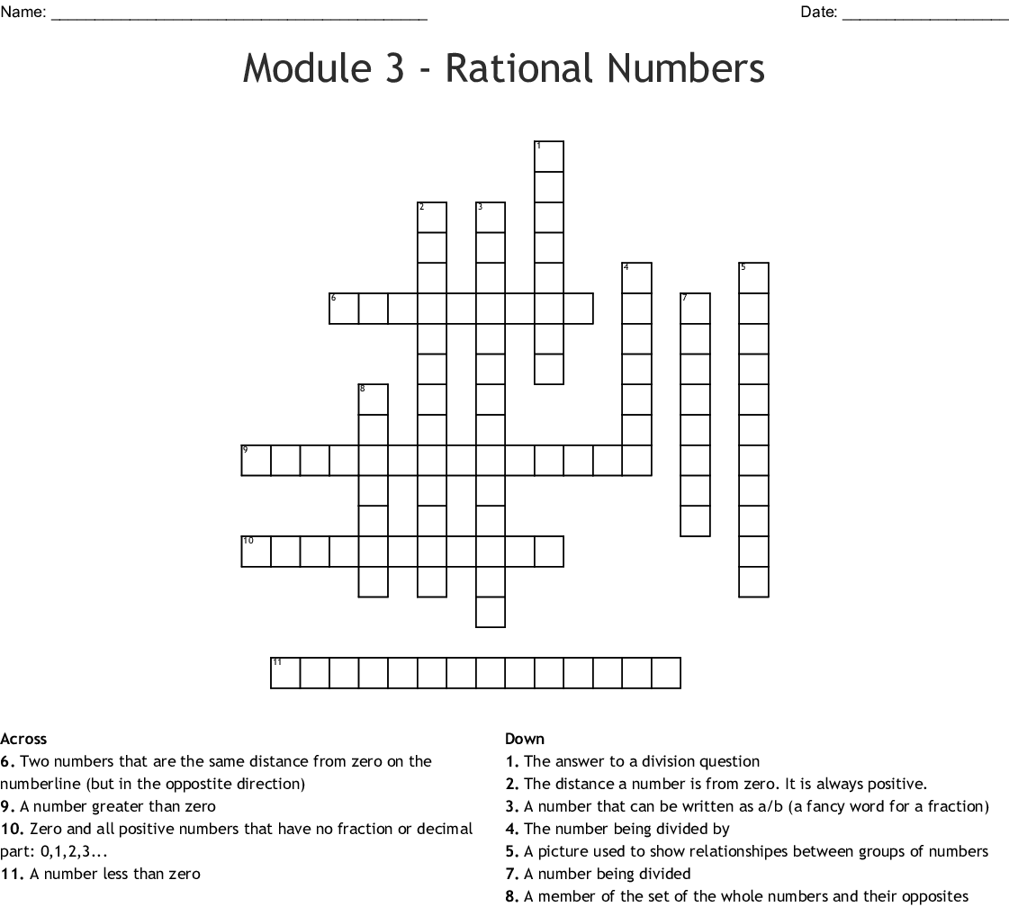 Rational Numbers Crossword