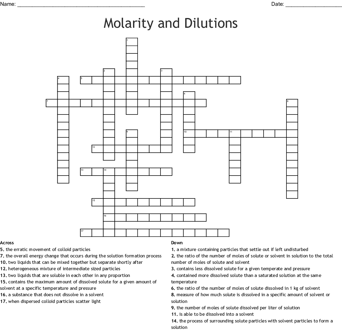 Molarity And Dilutions Crossword