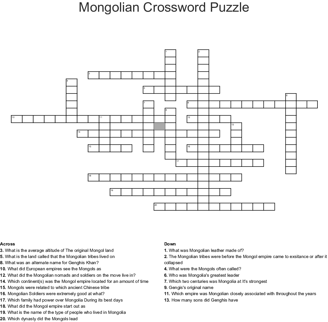 The Mongolian Empire Crossword