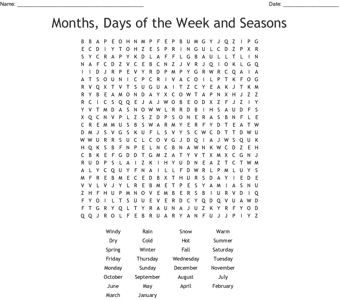 Months Days Of The Week And Seasons Word Search